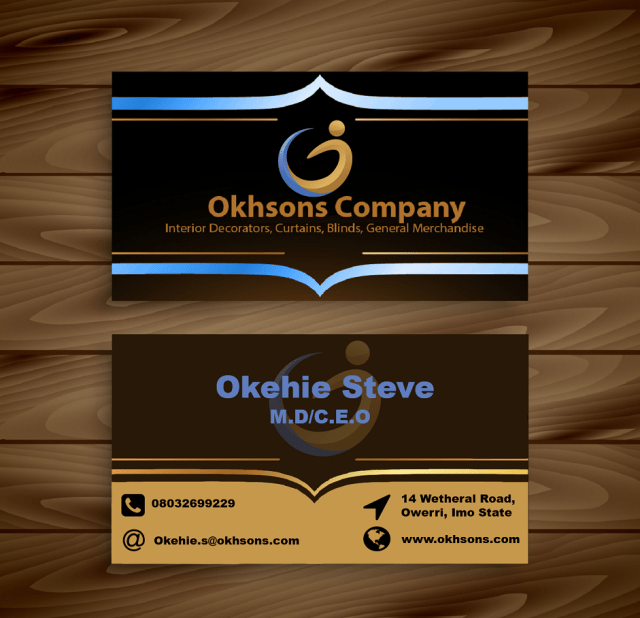 business card design for Okhsons