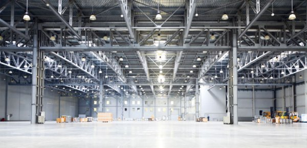 High bay lighting in warehouse