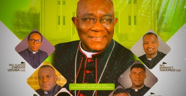 The bishop of Aba Diocese and the 7 newly ordained Catholic priests