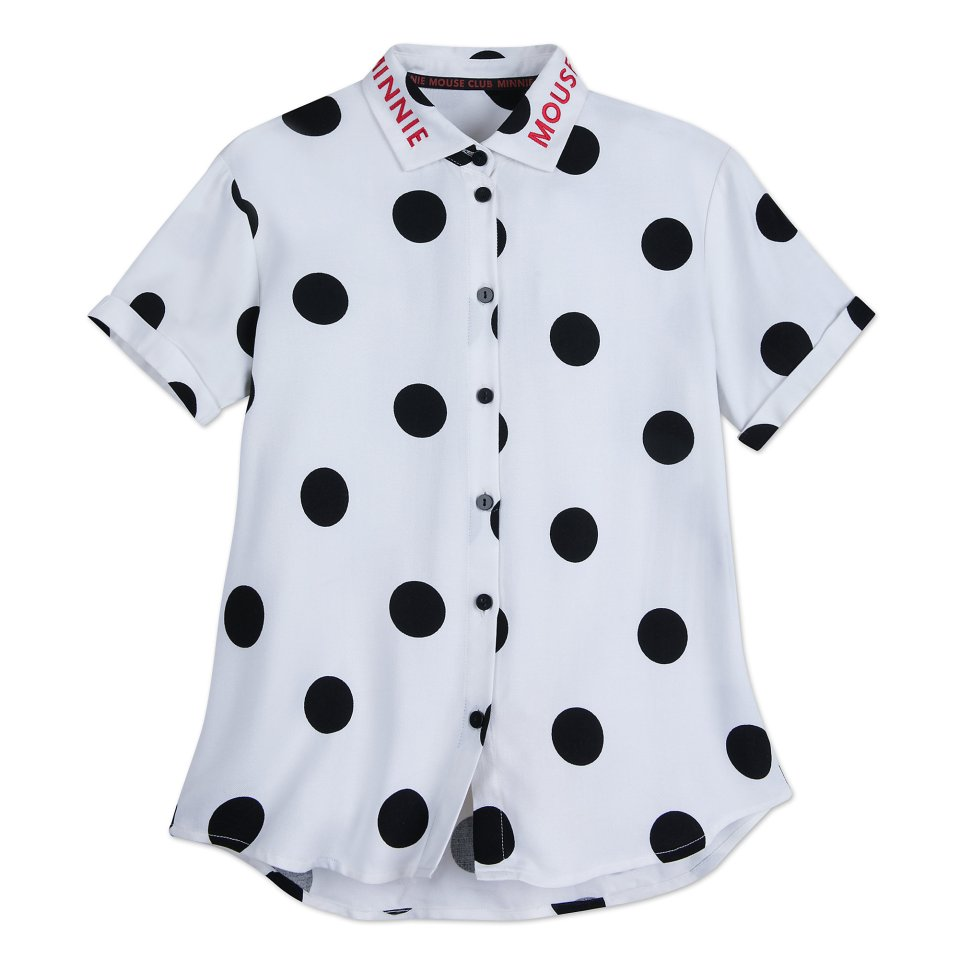 Product Image of Minnie Mouse Polka Dot Button Shirt for Women # 1
