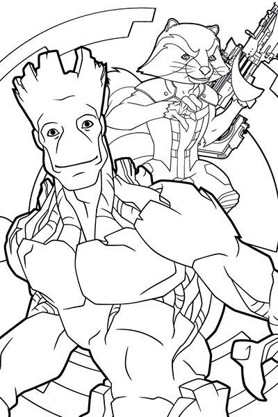 Rocket And Groot Coloring Page Guardians Of The Galaxy Activities Marvel Hq