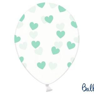 Balloner med mintfarvede hjerter