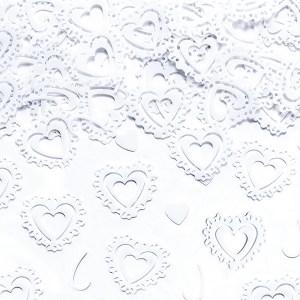Hvide hjerteformede konfetti