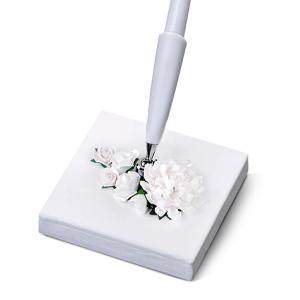 Kuglepen holder med hvide blomstyer