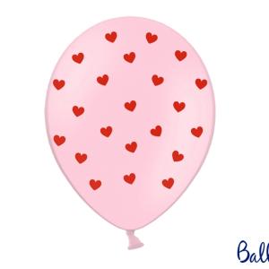 Lyserød ballon med hjerter
