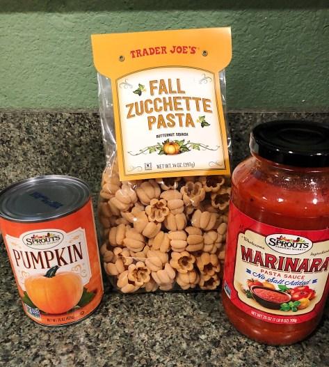Ingredients for the spicypumpkin arrabbiata zucchette pasta