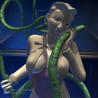 a pale woman in a long coat caresses and is caressed by large green tentacles.