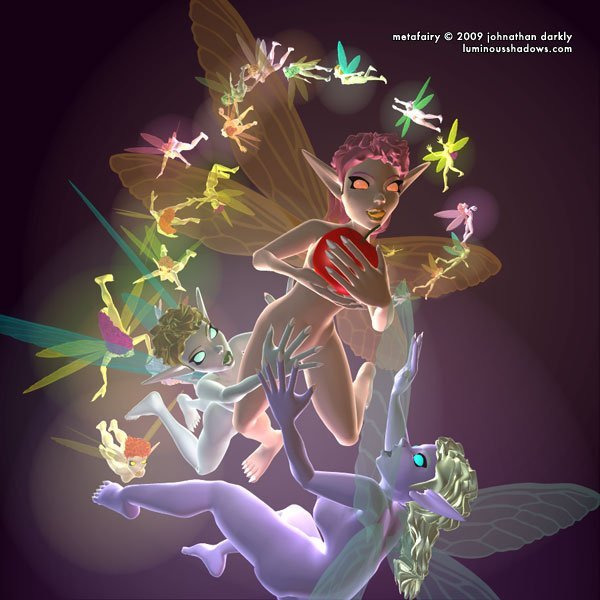 a large group of flying, multi-colored fairies chase one another.
