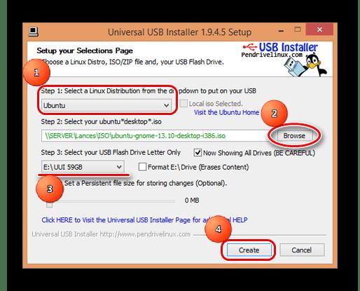 Brug af Universal USB Installer