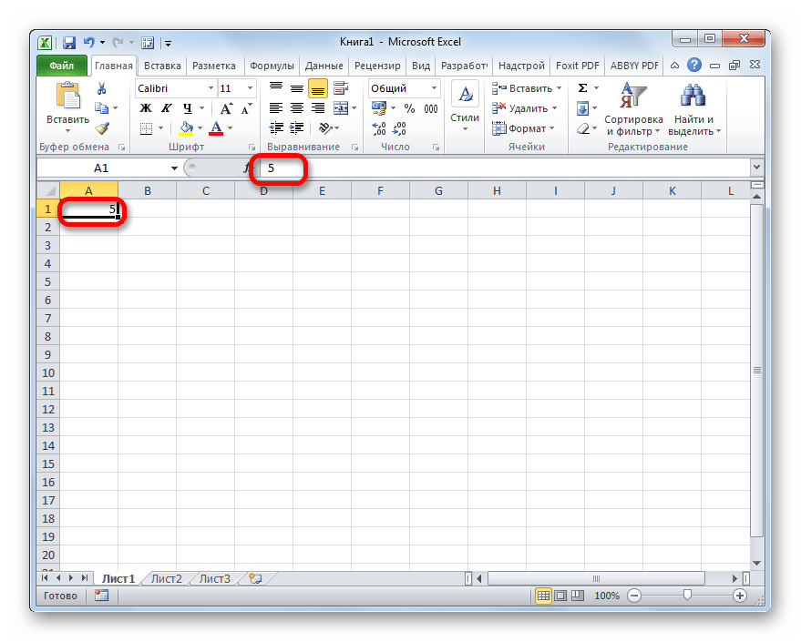 Nummer 5 i cell i Microsoft Excel