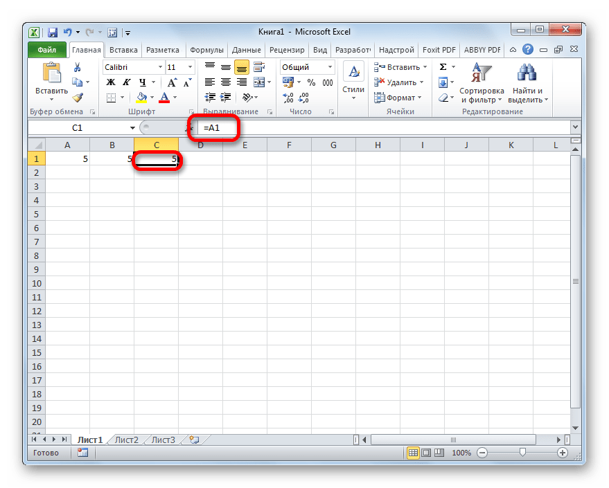 One cell refers to another in Microsoft Excel