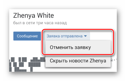 Using the item to cancel the application on the user page in the mobile application VKontakte