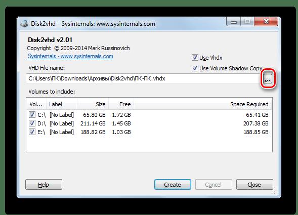 Siirtyminen virtuaalisen kiintolevyn sijainnin hakemiston valintaan DISK2VHD-ohjelmassa