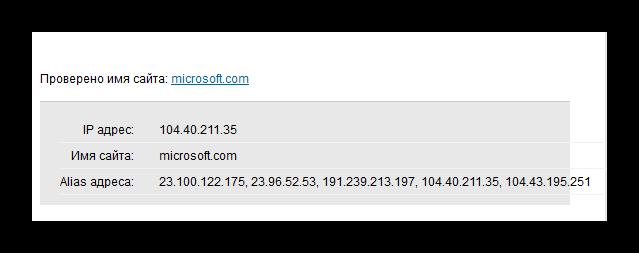 A szolgáltatás működésének eredménye 2IP a domain IP-címének kiszámításához