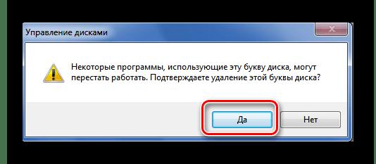 Confirmation de la suppression de la lettre du disque dans Windows 7
