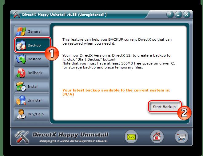 Lag sikkerhetskopiering i DirectX Happy Uninstall