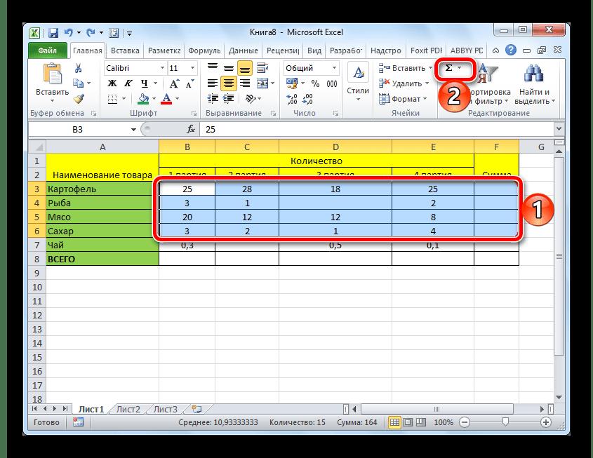 Sommatie van waarden in meerdere regels van de Microsoft Excel-spreadsheet