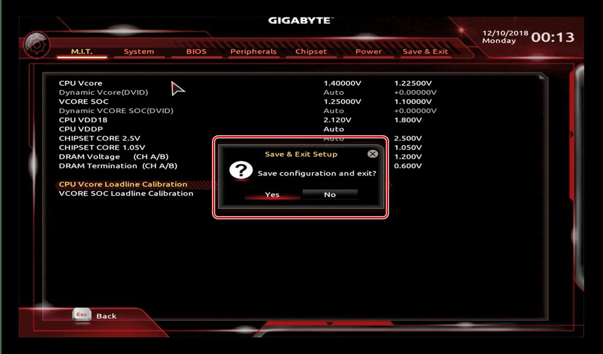 CPUオーバークロック用のGIGABYTEBIOS設定を終了して保存します