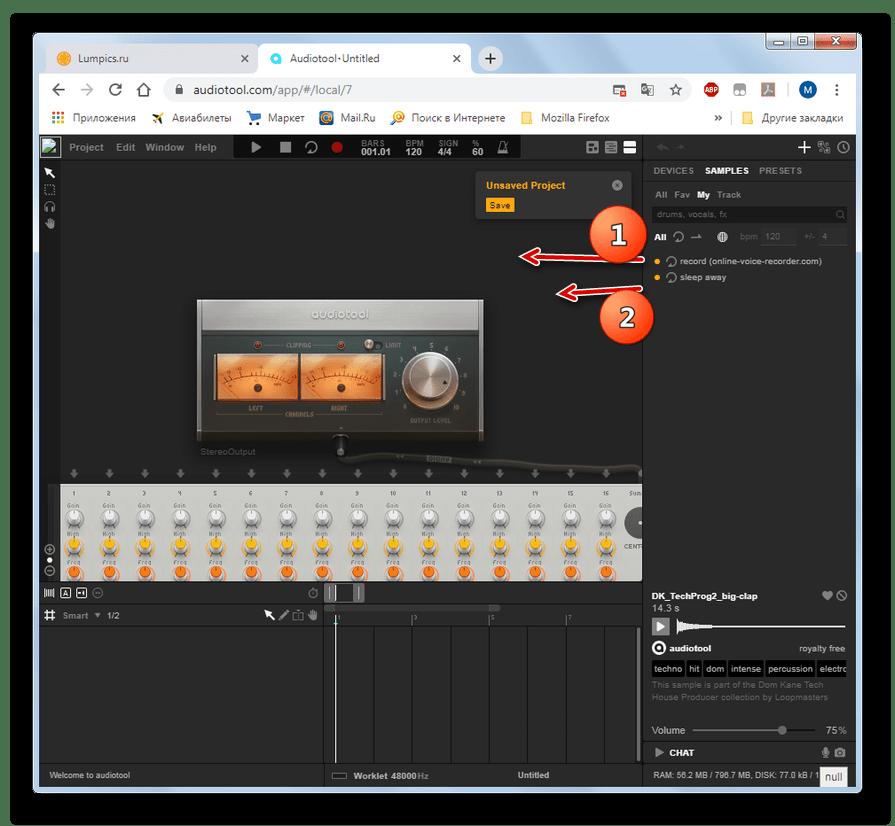 Arrastando amostras no estúdio online AudioTool no navegador do Google Chrome