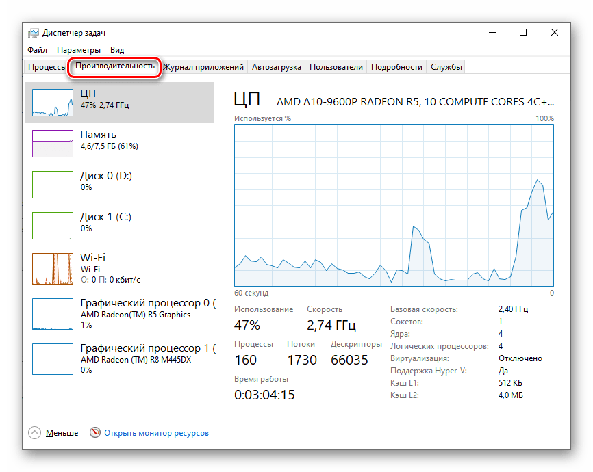 Vai al menu Performance in Task Manager