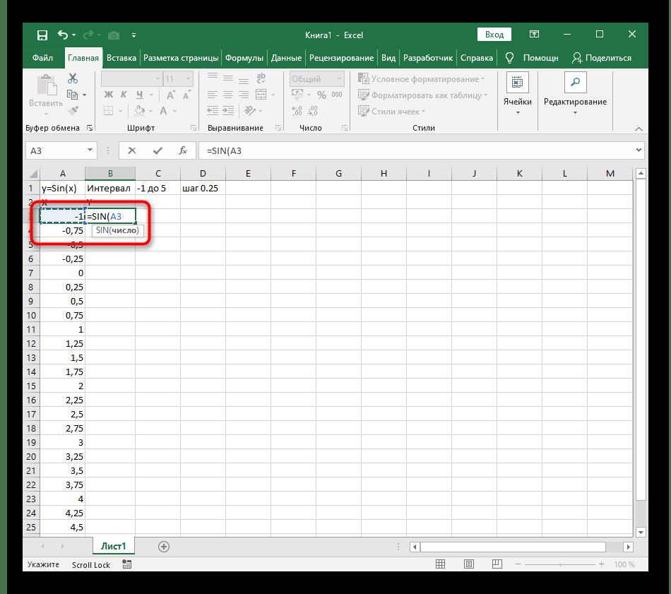 Y = SIN (x) функциясының кестесін құру үшін формула үшін бірінші нөмірді қосу y = sin (x) excel-де