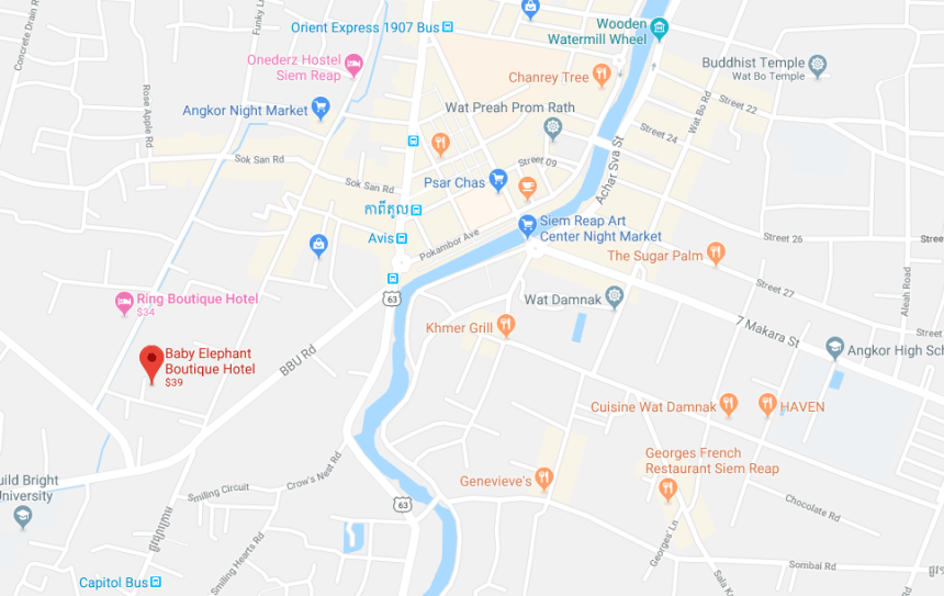 Map of the Baby Elephant Boutique Hotel in Siem Reap Cambodia