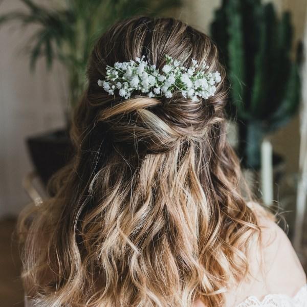 Eva gypsophila wedding hair comb by Luna and Wild