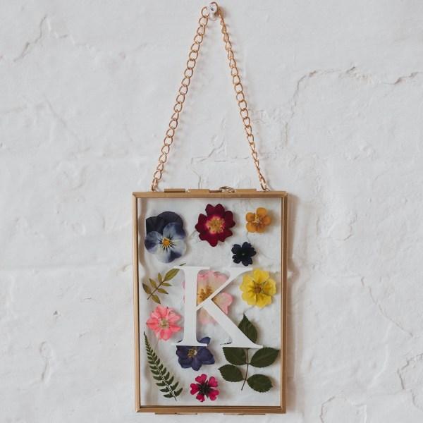 Personalised initial pressed flower herbarium frame