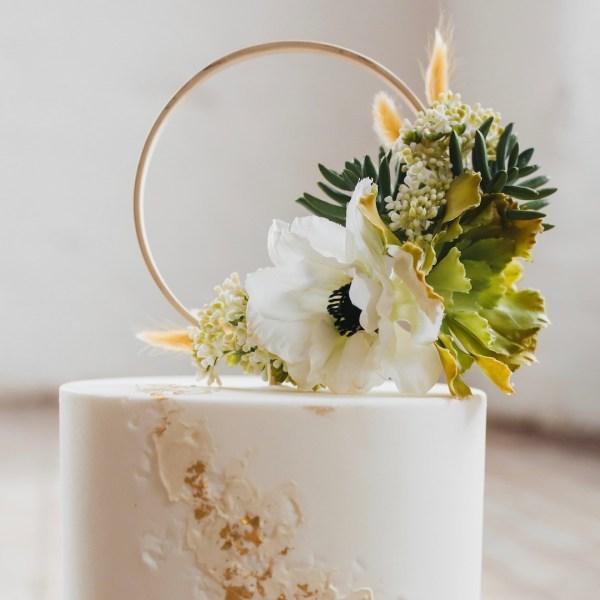 Wedding Flower Cake Topper Hoop