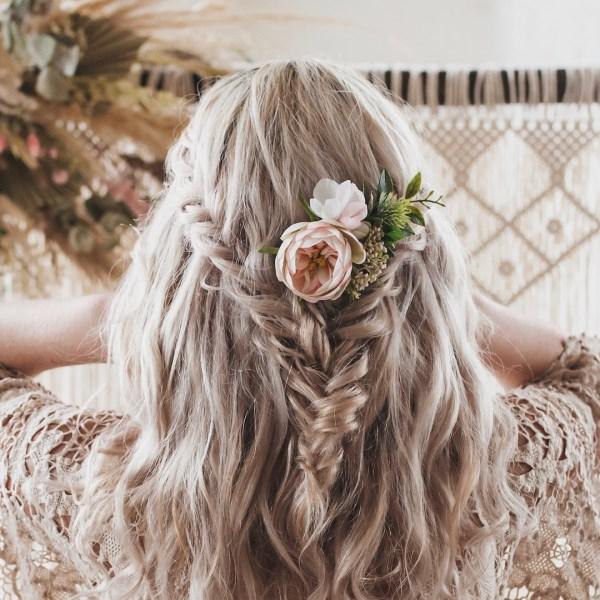 Evie Pink Rose Wedding Bridal Hair Clip