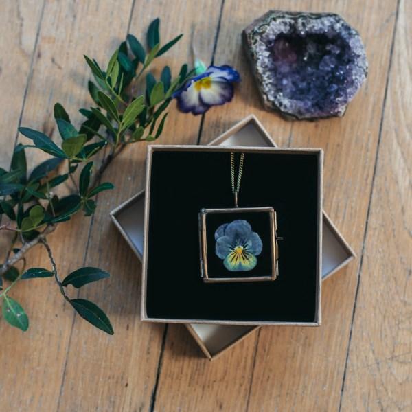 Pressed Flower Glass Locket Necklace Pendant