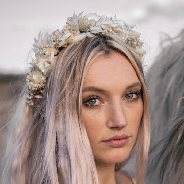 Luna and wild India Bridal Dried Flower Crown Wedding Headband