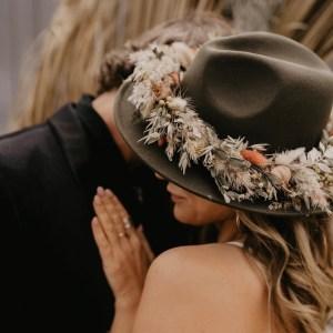 Bea Autumn Dried Flower Bridal Fedora Stetson Hat