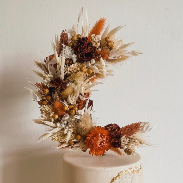 Autumnal Crescent Moon Dried Flower Wedding Cake Topper