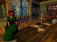 Red hair in herbalist shop