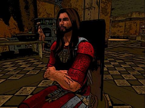 Warrior in a tavern