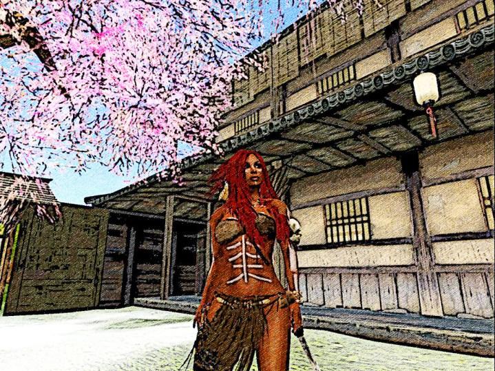 Red hair looks around the court yard