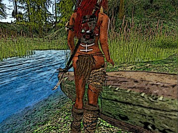 Red hair drags and hides her Canoe in the high reeds