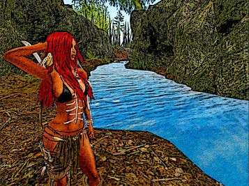 She overlooks the small river , where will it lead her?
