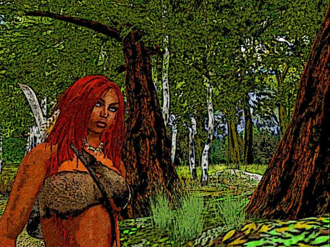 She follows a narrow forest path, where will it lead her?