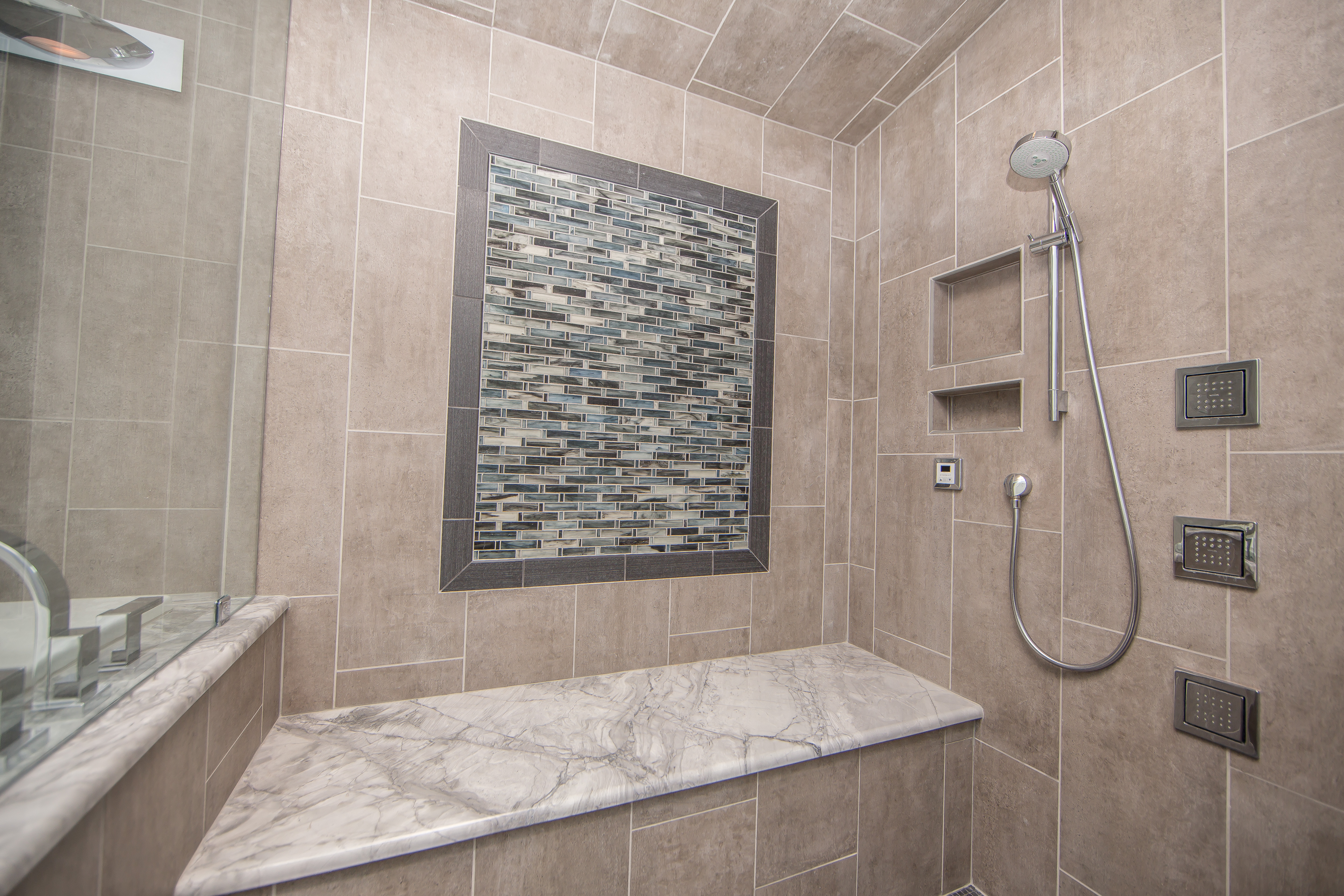 contemporary steam shower by collins tile stone design by lunada bay tile