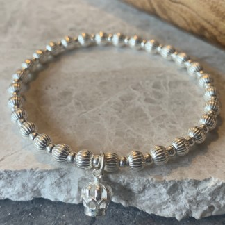 sterling silver crown charm bracelet