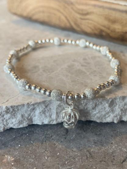 Sterling silver crown sparkles bracelet