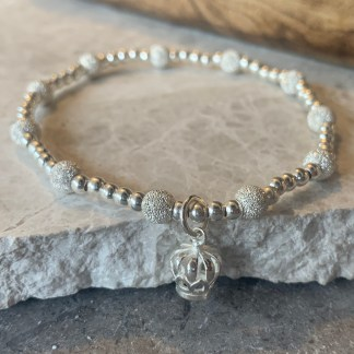 Sterling silver crown sparkles bracelet
