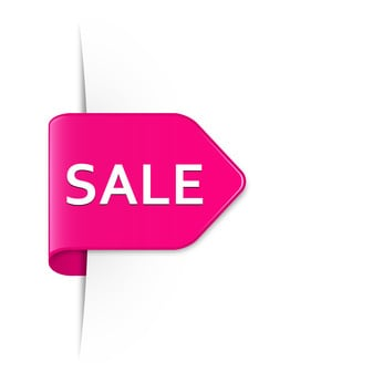 Sale bright pink arrow sticker with drop shadow