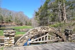 Gillette castle view from pond bridge