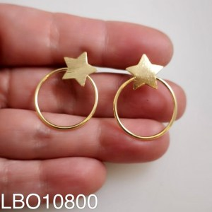 Aros bañado en oro Estrella y argolla de 27mm LBO10800