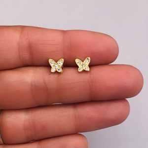 Aros bañados en oro 22k de 7mm Mariposa Circones LBO11460