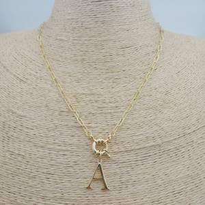 Collar bañado en oro de 44cm de largo Cadena, Timón y Letra A LBO30895