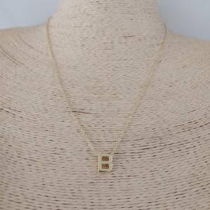 Collar bañado en oro de 47cm Cadena Letra B con alargue de 5cm LBO30991